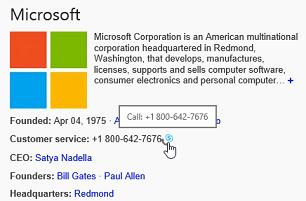Pagină web cu opțiunea clic pentru apel evidențiată în Skype for Business