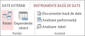 Comanda Relații din fila Instrumente bază de date