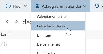 O captură de ecran a meniului Adăugare calendar, având cursorul peste opțiunea pentru Calendar sărbători