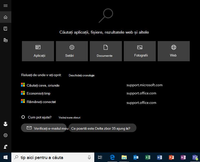 Căutarea în Windows 10