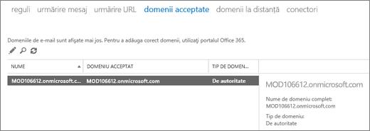 Captura de ecran afișează pagina Domenii acceptate a centrului de administrare Exchange. Se afișează informații despre nume, despre domeniul acceptat și despre tipul de domeniu.