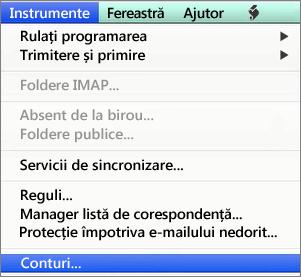 Outlook pentru Mac - Instrumente > Conturi