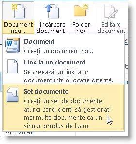 Comanda Set de documente în meniul Document nou