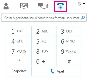 Captură de ecran a tastaturii telefonice pentru a apela o persoană de contact