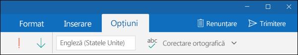Fila Opțiuni din aplicația Outlook Mail