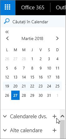 O captură de ecran afișează zonele Calendarele dvs. și Alte calendare din panoul de navigare Calendar.