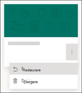 Restaurarea unui formular sau ștergerea unei opțiuni de formular pentru un formular în Microsoft Forms