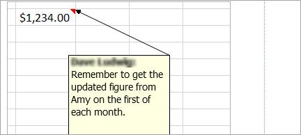 Adăugarea unei note la foaia de calcul