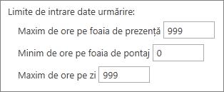 Limite de intrare date urmărire: