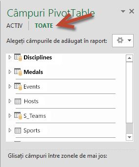 Faceți clic pe Toate în Câmpuri PivotTable pentru a afișa toate tabelele disponibile