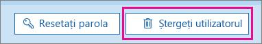 Ștergeți un utilizator în Office 365.