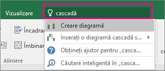 Caseta Spune-mi cu text în cascadă și cu rezultatele din Excel 2016 pentru Windows