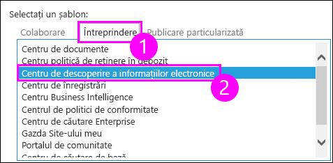 Șabloane de colecție de site Enterprise fila