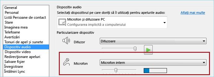 Captură de ecran cu microfonul de test audio Lync