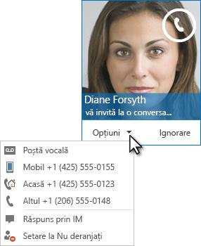 Captură de ecran a avertizării de apel audio cu imaginea persoanei de contact în colțul de sus