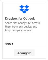 Captură de ecran a dalei programului de completare Dropbox pentru Outlook, disponibil gratuit.