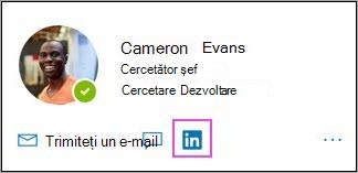 Afișarea pictogramei LinkedIn pe fișa de profil