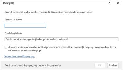 Crearea unui grup nou cu link la instrucțiunile de utilizare