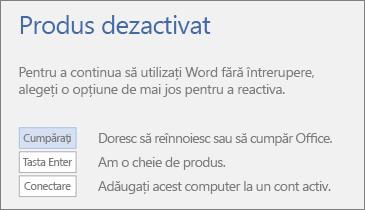 Captură de ecran ce afișează mesajul de eroare Produs dezactivat.