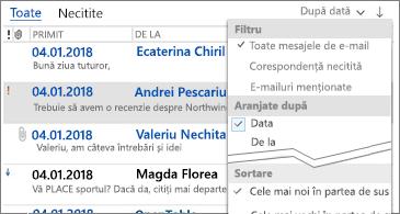 Listă de filtre disponibile pentru a sorta mesajele
