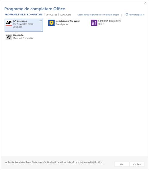 Captură de ecran afișează fila cutiile mele programe de completare a paginii de completare Office în cazul în care sunt afișate completare utilizator. Selectați programul de completare pentru a începe să-l. De asemenea, sunt disponibile opțiunile pentru a gestionare programe de completare sau reîmprospătare meu.