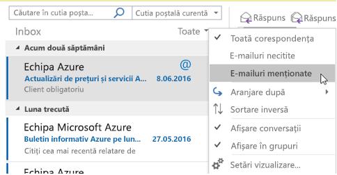 Meniu afișând opțiunea E-mail menționat