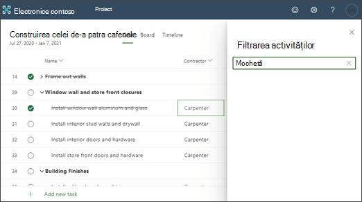 Captură de ecran a unui proiect filtrat în conținutul unei coloane