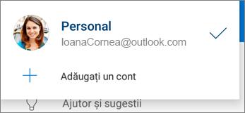 Adăugare cont în aplicația OneDrive pentru Android