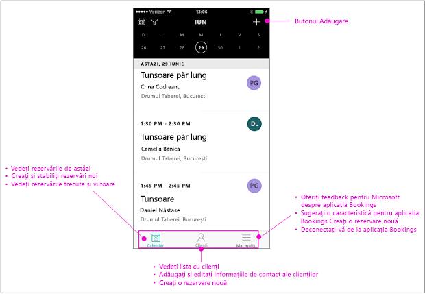 Bara de navigare din aplicația mobilă rezervările are trei opțiuni: Calendar, clienți și altele