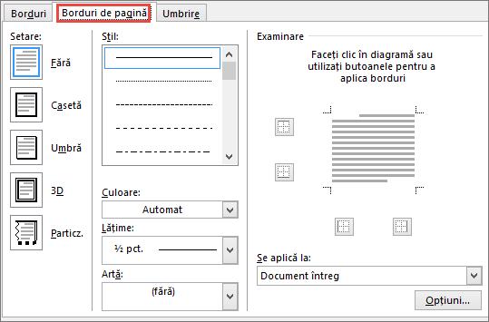 Fila Bordură pagină din caseta de dialog Borduri și umbrire din Word 2010