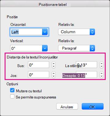 Setați spațiul dintre tabelul selectat și corpul de text sub distanță față de textul înconjurător.