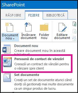 Afișare verticală a meniului Document nou cu tipul de conținut Contract vânzări.