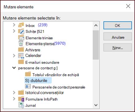 Mutați persoanele de contact în alt folder.