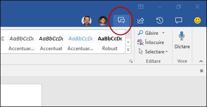 Faceți clic pe butonul chat în Galeria coauthoring pentru a deschide fereastra de chat