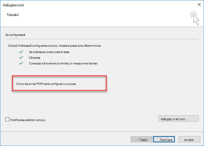 Outlook - Adăugarea unui cont ca POP