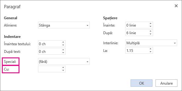 Selectați un tip de indentare din lista speciale, apoi setați măsura în caseta La.