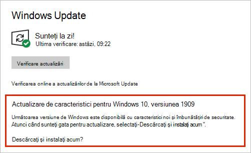 Actualizare Windows care afișează plasarea actualizării de caracteristici