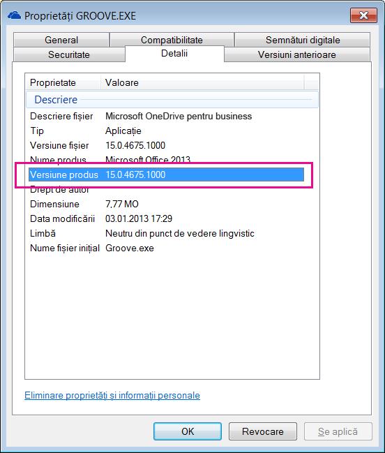 Caseta de dialog proprietăți groove.exe arată versiunea de produs pentru aplicația de sincronizare OneDrive pentru business.
