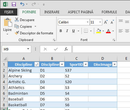 Extinderea unui tabel în Excel