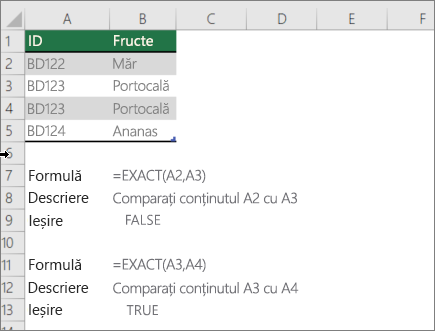 Un exemplu utilizează funcția EXACT pentru a compara o celulă la alta