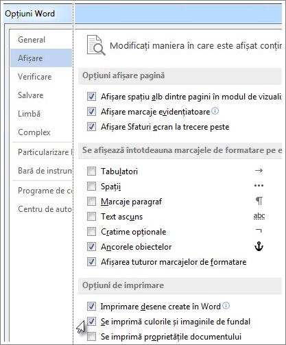 Caseta de selectare Se imprimă culorile și imaginile de fundal în caseta de dialog Opțiuni din Word