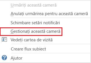 Captură de ecran cu lista verticală, având selectată opțiunea Gestionați această sală