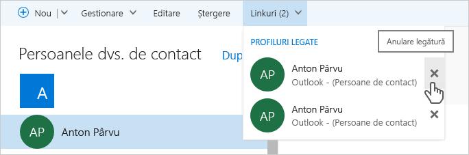 Cum să anulați legăturile dintre persoanele de contact outlook.com