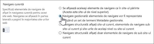 Secțiunea navigare curentă cu navigarea gestionată selectată