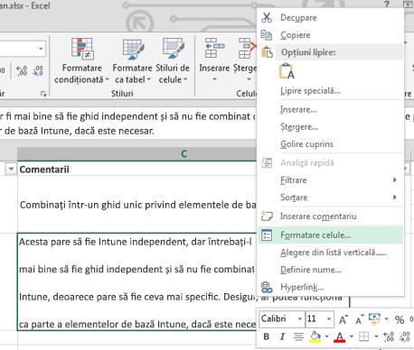 În meniul contextual, faceți clic pe Formatare celule.