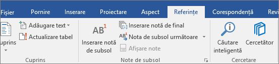 Interfața de utilizator Cercetare Word