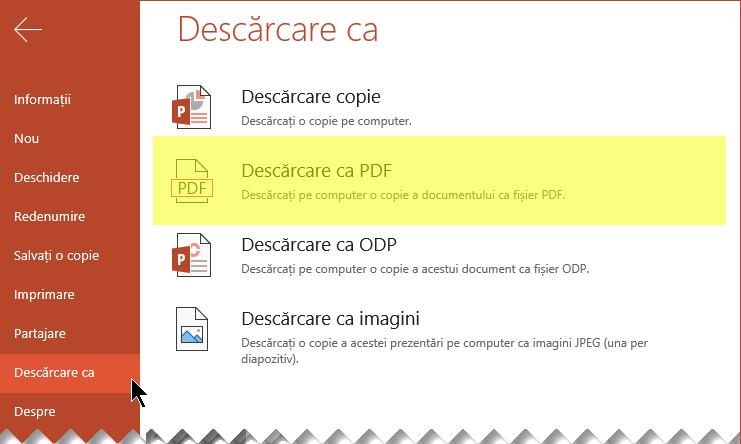 Selectați fișier > descărcarea ca > Descărcare ca PDF