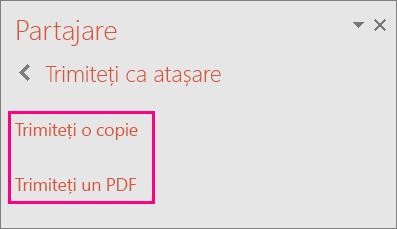 Afișează linkul Trimiteți un PDF în PowerPoint 2016