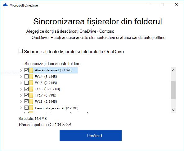 Sincronizarea selectivă OneDrive pentru Business foldere