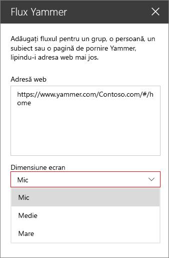 Caseta de adresă Yammer fluxuri web